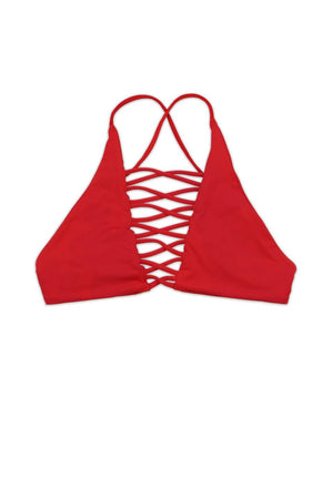 SEAMLESS CAGED CROSS BACK TOP - CHERRY / REDFront View