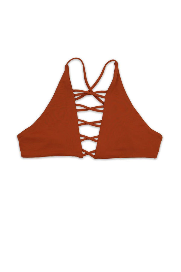 Seamless Caged Cross Back Top - Rust