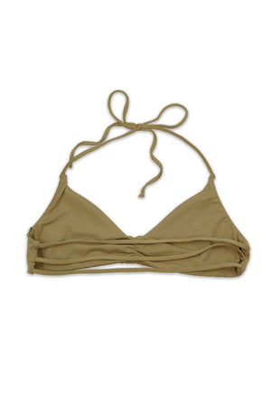 Beige Seamless Strappy Back Bandeau Halter Top
