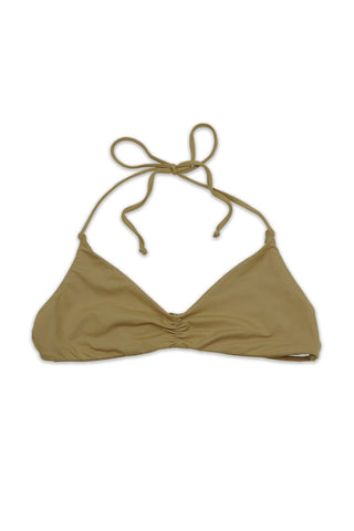 Beige Seamless Strappy Back Bandeau Halter TOP Front - Dippin' Daisy's Swimwear