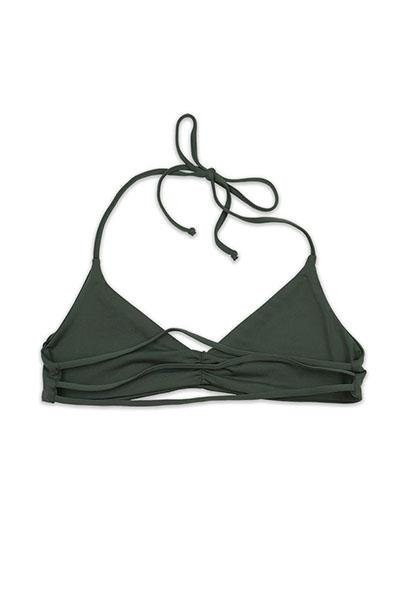 Dark Silver Seamless Strappy Back Bandeau Halter TopFront View