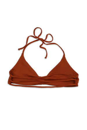 Rust Seamless Strappy Back Bandeau Halter Top Back View
