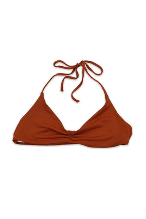 Rust Seamless Strappy Back Bandeau Halter TopFront View