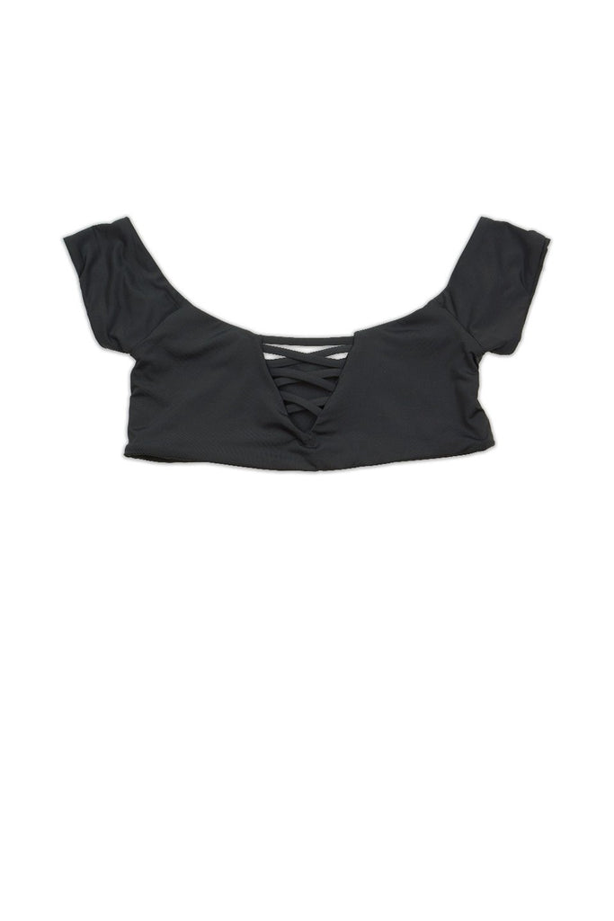 Seamless Off-Shoulder Caged Top - Black