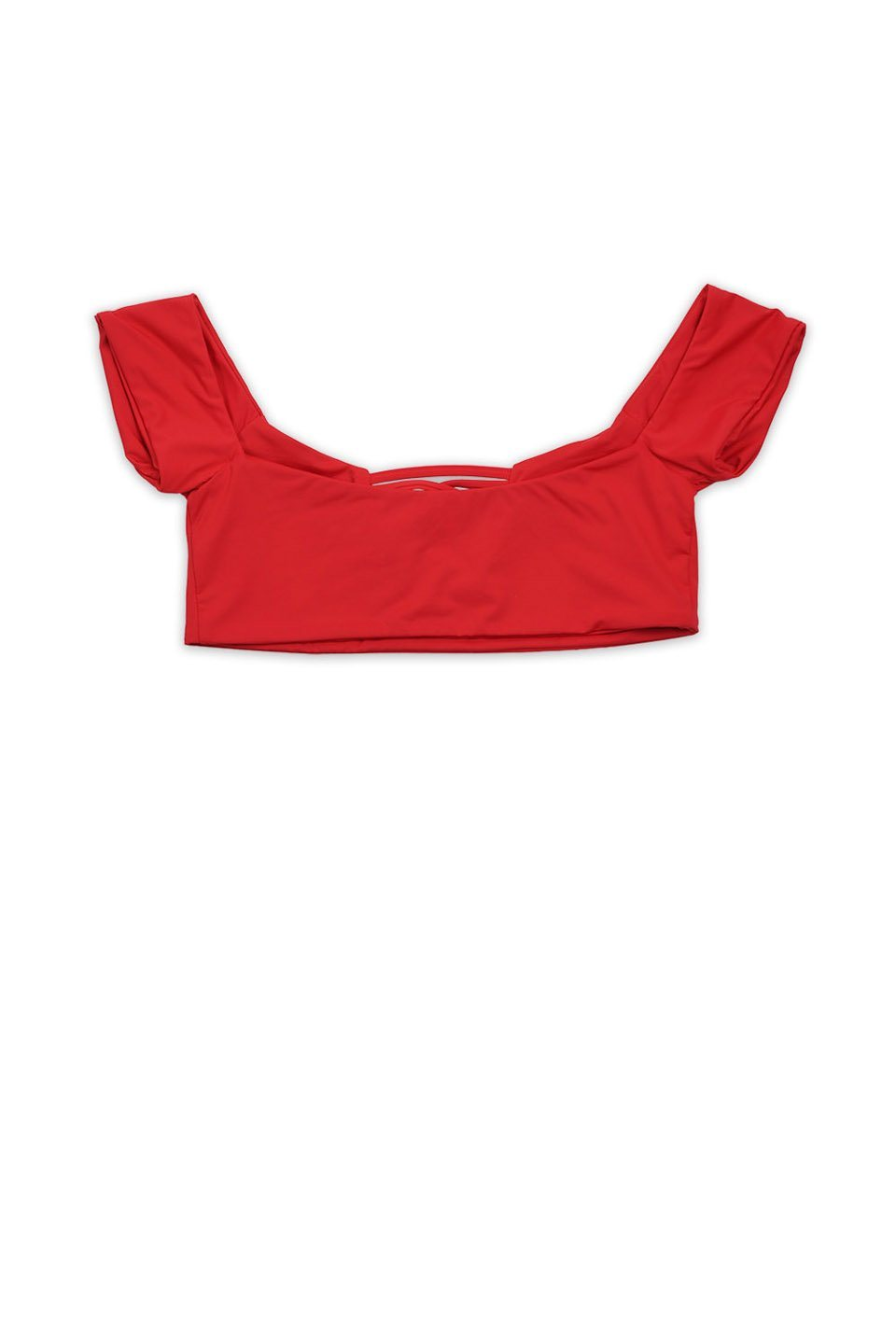 Red Seamless Off Shoulder X Front Top