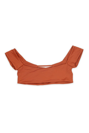 SEAMLESS OFF SHOULDER CAGED TOP - RUST Back View