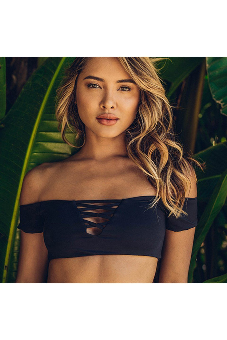 Black Seamless Off Shoulder X Front Top Front - Dippin' Daisy's Swimwear