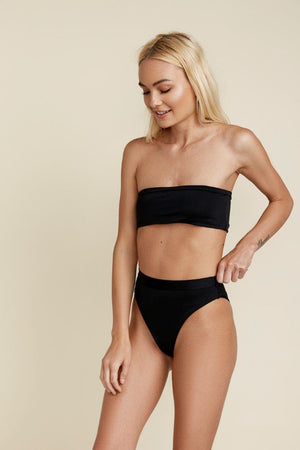 Seamless Cheeky Hi Waist Banded Bottom - Black