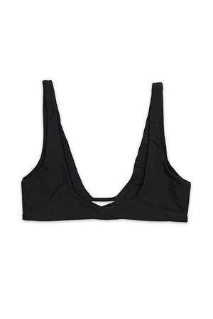 SEAMLESS CROSS FRONT TOP  - BLACK