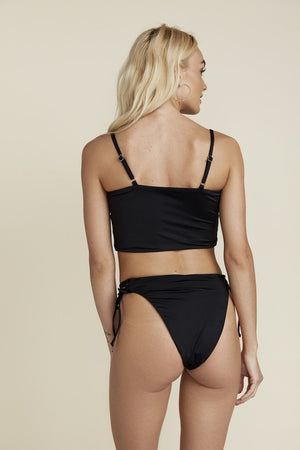 SEAMLESS CHEEKY HI WAIST TIE SIDE BOTTOM - BLACK