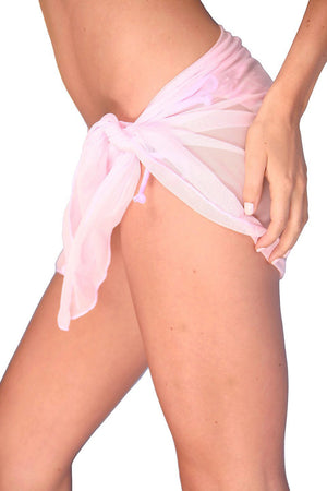 Light Pink Short Mesh Sarong - Side - Dippin' Daisy's Swimwear