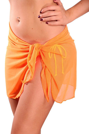 Orange Short Mesh Sarong - Front - Dippin' Daisy's Swimwear