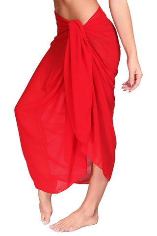 Red Ankle-Length Sheer Chiffon Sarong - Dippin' Daisy's Swimwear