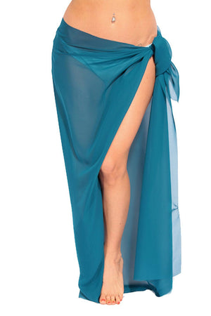 Teal Ankle Length Sheer Chiffon Sarong - Front - Dippin' Daisy's Swimwear