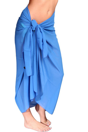 Royal Blue Ankle-Length Chiffon Sarong - Front - Dippin' Daisy's Swimwear
