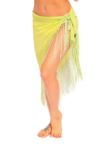 Green Sheer Sarong with Fringes - Dippin' Daisy's Swimwear