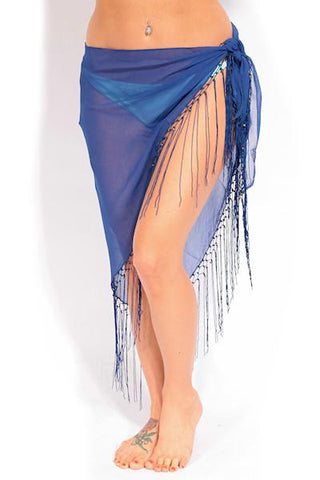 Navy Sheer Sarong with Fringes - Dippin' Daisy's Swimwear