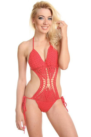 Red Crochet Scrunch Butt Monokini