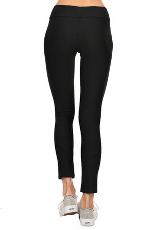 Solid Black Women's Active Ankle Length Leggings Back - Dippin' Daisy's Swimwear
