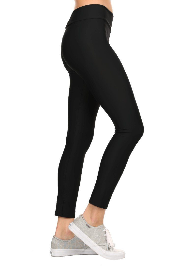 Solid Black Women's Active Ankle Length Leggings Front - Dippin' Daisy's Swimwear