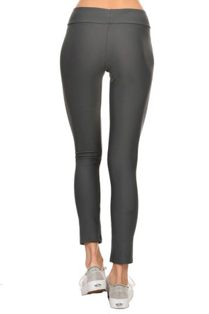 Solid Gray Women's Active Ankle Length Leggings Back - Dippin' Daisy's Swimwear