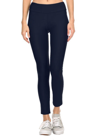 Solid Navy Women's Active Ankle Length Leggings Front - Dippin' Daisy's Swimwear