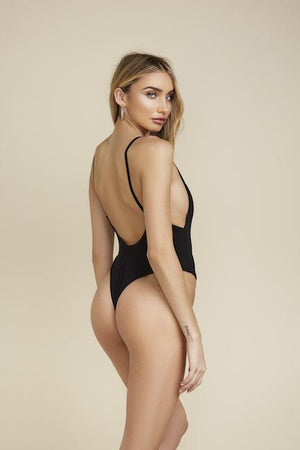 Low Back Thong One-Piece - Black