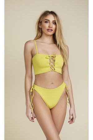 Seamless Lace Up Bandeau Top - Citrine