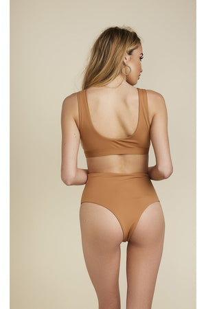Seamless Moderate Coverage Hi Waist Bottom - Caramel