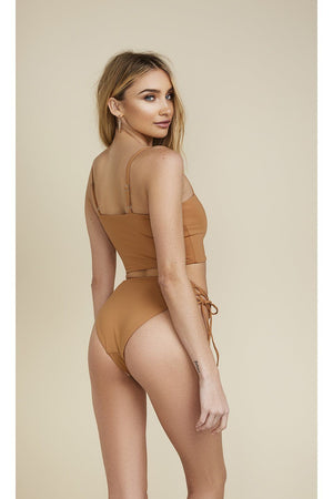Seamless Cheeky H Waist Tie-Side Bottom - Caramel