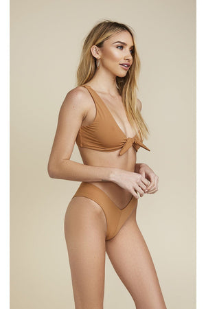 Seamless Tie Front Top - Caramel
