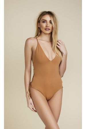 CAGED TIE SIDE CHEEKY COVERAGE ONE PIECE - CARAMELFront View