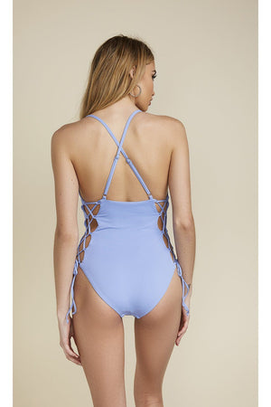 Caged Tie Side Cheeky Coverage One-Piece - Sky