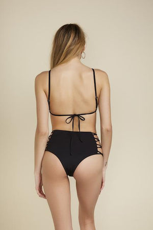 TIE BACK MINIMAL TRIANGLE TOP - BLACK Back View
