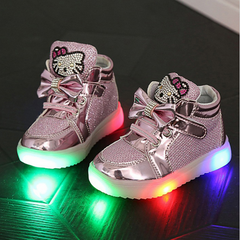 Adorable Limited Edition Kids LED Flashing Princess Trainers 2-6 Years