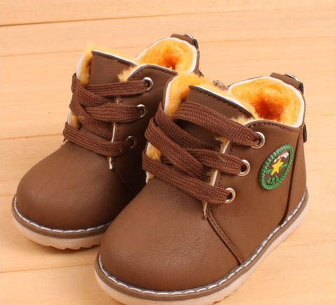 Boys fur lined lace Shoes with side zipper
