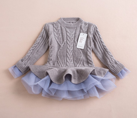 Beautiful Girls Long Sleeve Sweater TuTu Cardigan Dress