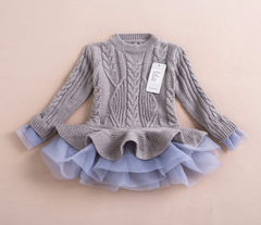 Beautiful Girls Long Sleeve Sweater TuTu Cardigan Dress-Cool kids stuff-Kids Bargain World