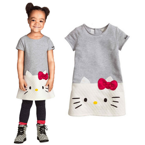 Girls Hello Kitty Style Cotton Dress 2-7 Years