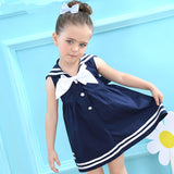 Girls Sailor Style Sleeveless Bow Striped Dress 18m-6y-Girls clothes-Kids Bargain World
