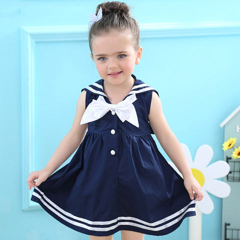 Girls Sailor Style Sleeveless Bow Striped Dress 18m-6y