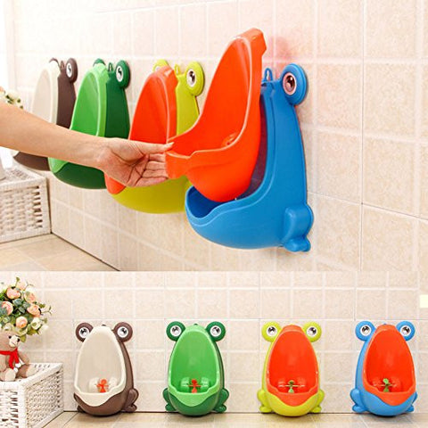 Very Cute Froggy Shaped Boys Training Urinal With Wheel Spinner For Kids Fun
