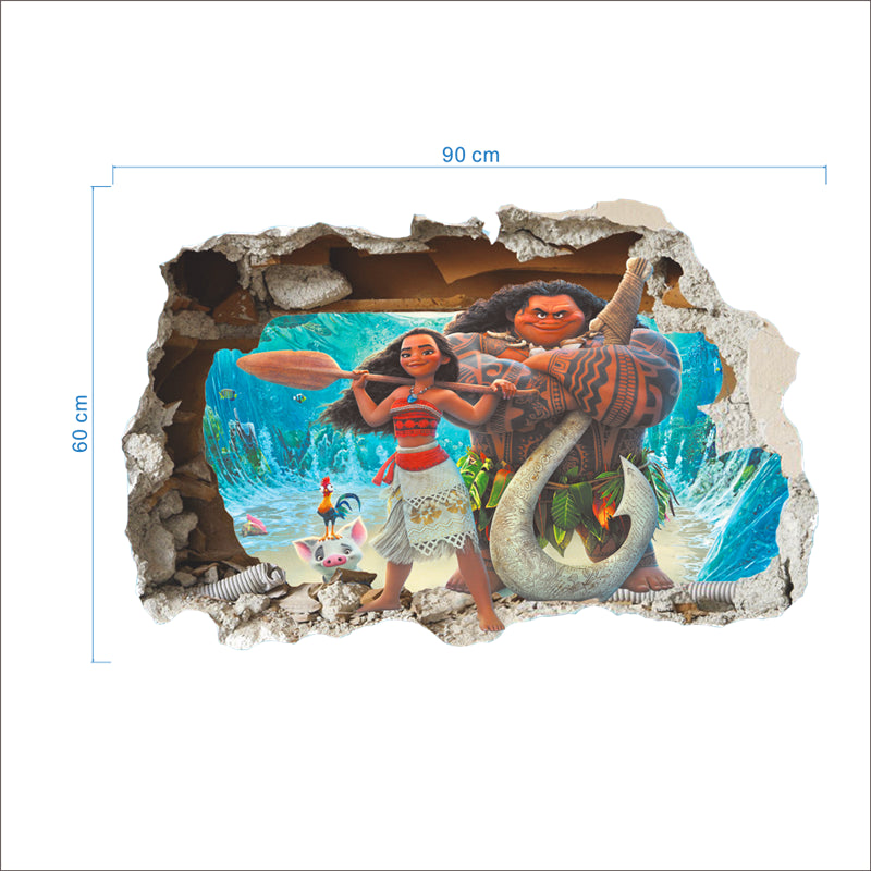 Moana 3D Effect Wall Decal For Kids Rooms-Kids Bargain World