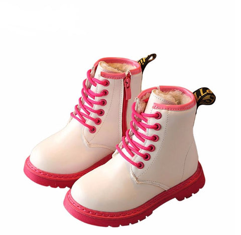 Kids Doc Marten Style Patent Two Tone Boots 3-12 Years)
