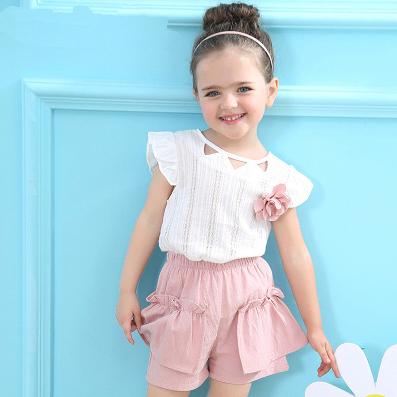 Girls Summer Sleevelss T-shirt+Floral Shorts 2Pcs Suit 18m-6Y-Kids Clothes-Kids Bargain World
