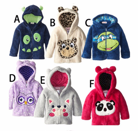 Kids Thick Fleece Animal Themed Winter Zipper Hoodies