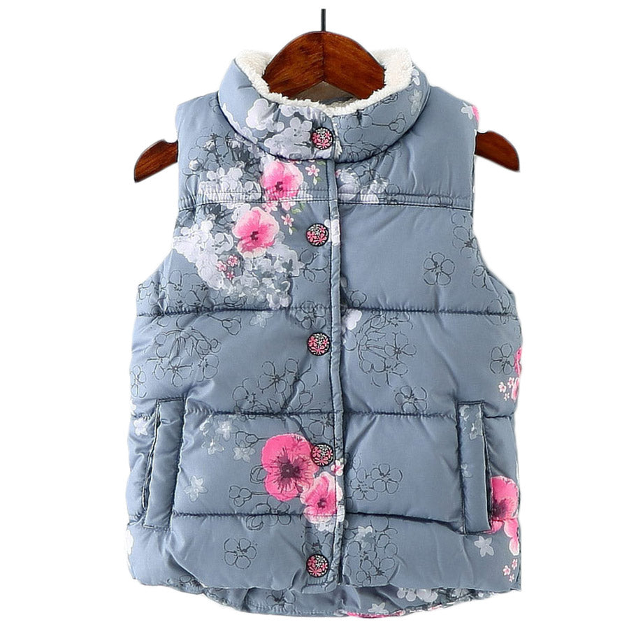 Girls Thick Flower Print Gilet 18M-6Y-Kids body warmers/gilets-Kids Bargain World