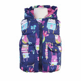 Beautiful Blue Animal Graffiti Thick Princess Gillet-Body Warmer-Kids Bargain World