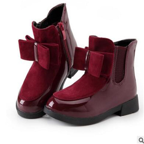 Gorgeous Chelsea Style Patent Bow Boots For Girls