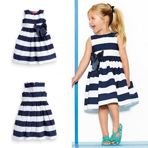 Girls One Piece Blue And White Stripes With Bow Summer Dress